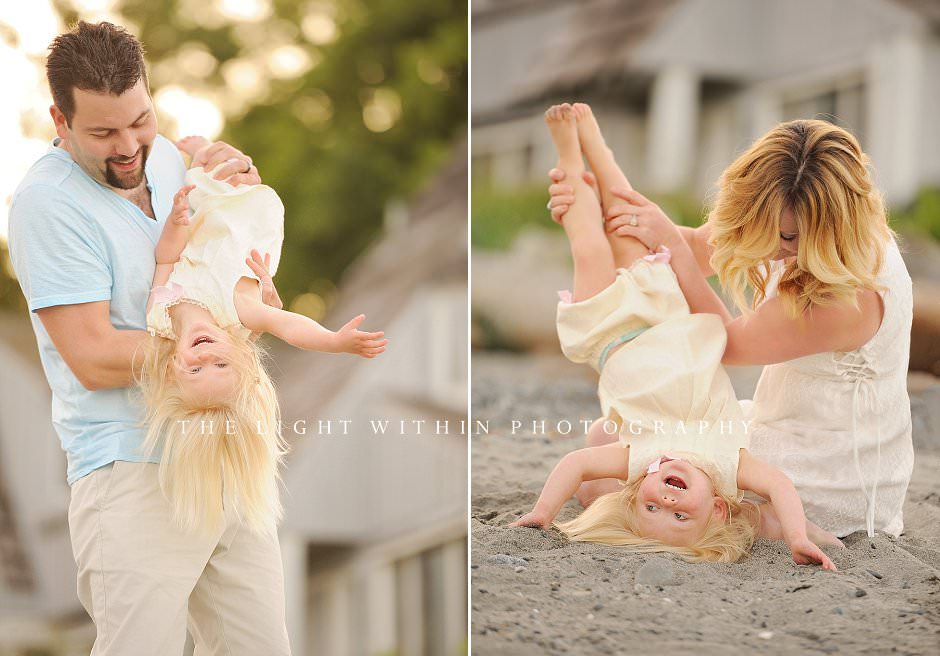 little girl upside down laughing, Victoria family photographers