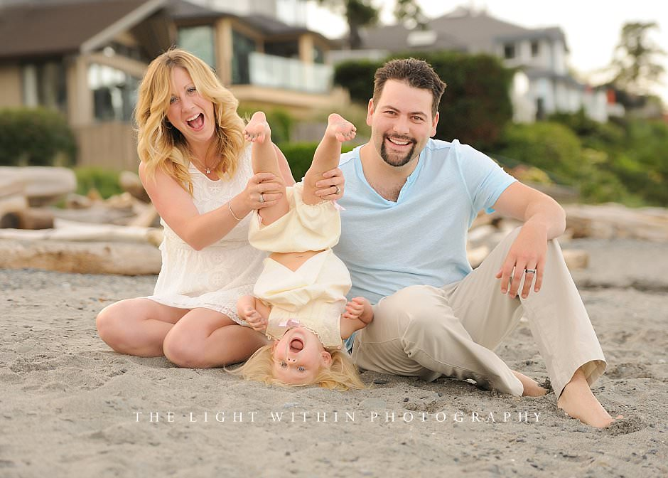 cute family playing at the beach, Victoria family photographers