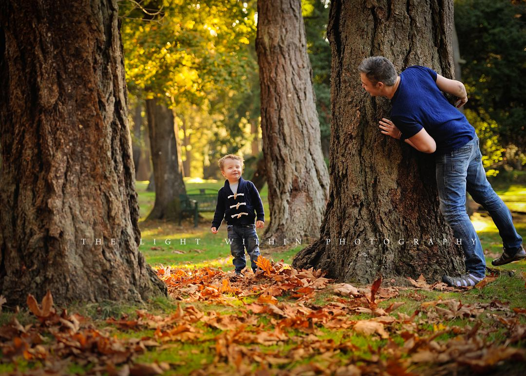 playing hide and seek in the fall Victoria BC photographer