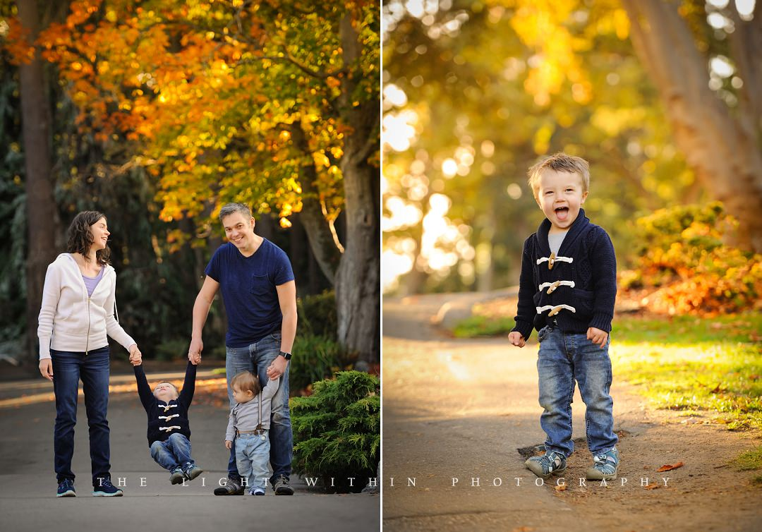Cute family of four playing at the park in the fall, Victoria family photographers