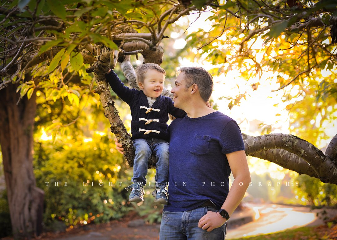 fall photo of son and dad in Victoria BC
