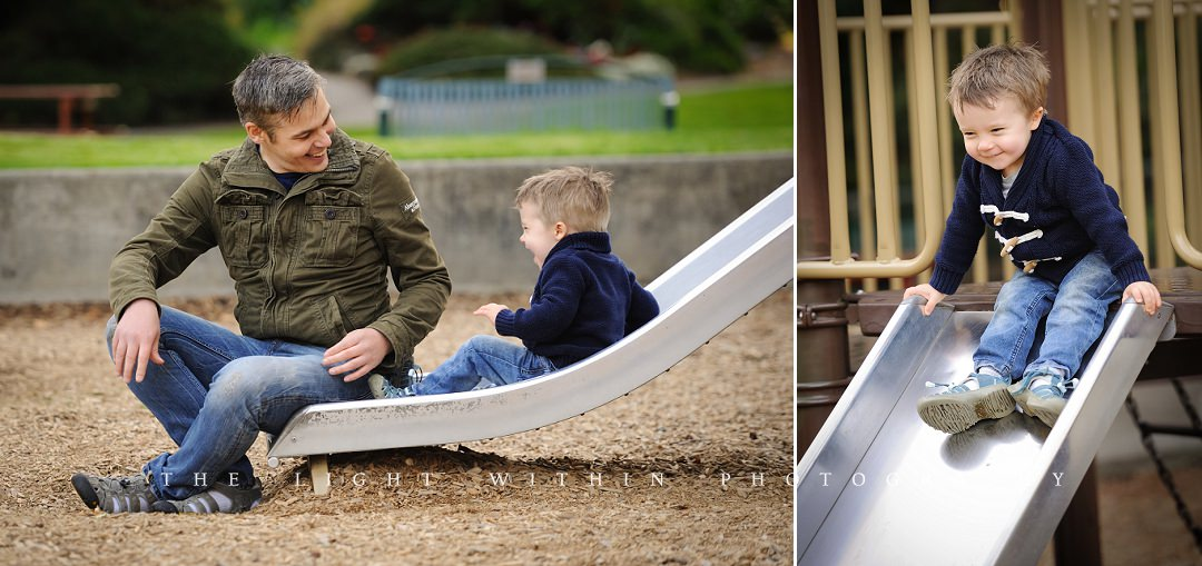 dad and son playing at the playground, Victoria BC photography