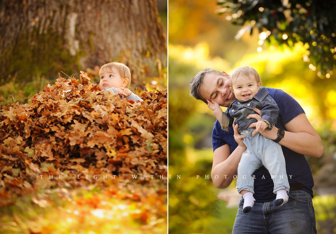 dad and baby playing in fall leaves, photographers in Victoria BC