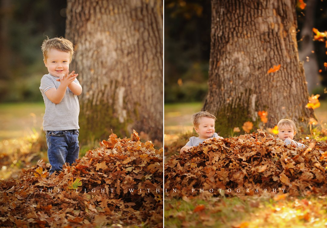 boys playing in a leaf pile, Victoria child photographers